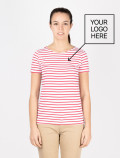 Women´s red striped t-shirt with logo
