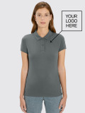 Women's Gray Polo for hospitality with logo