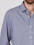 Men's Blue Check Shirt detail