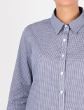 Women's blue check shirt detail