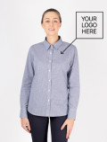 Women's blue check shirt logo