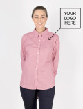 Women's Red Check Shirt for waitress with logo
