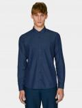 Men's denim shirt, with a classic cut and dark blue denim