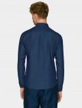Men's denim shirt, with a classic cut and dark blue denim - back