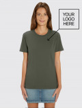 Army green women's short-sleeved t-shirt with logo