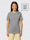 Women's short-sleeved grey t-shirt with logo