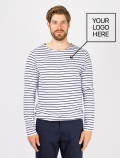 Men's long-sleeved blue striped t-shirt with logo