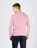 Men's long-sleeved red striped t-shirt back