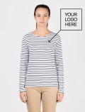 Women's long-sleeved blue striped t-shirt with logo