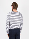 Men's long-sleeved blue striped t-shirt back
