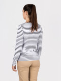 Women's long-sleeved blue striped t-shirt back