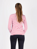 Women's long-sleeved red striped t-shirt back