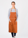 Women's long-sleeved blue striped t-shirt with apron