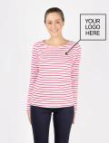 Camiseta de mujer de manga larga con rayas rojas con logo