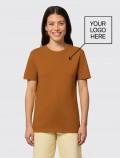 Women's orange t-shirt for uniforms with logo