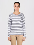 Women's long-sleeved blue striped t-shirt