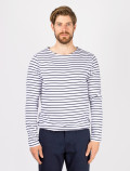 Men's long-sleeved blue striped t-shirt