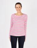 Camiseta de mujer de manga larga con rayas rojas