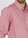 Men's red check shirt detail