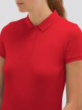 Polo rojo de mujer para uniforme de trabajo detalle