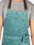 Green tie dye apron detail
