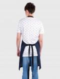 Delantal diseño en denim azul espalda