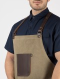 Barista apron leather pocket