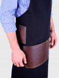 Black barista apron with leather