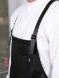 Black leather apron for Bartenders detail