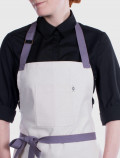 Pastry apron with purple ribbons
