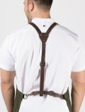 Brown leather Y-shaped harness