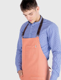 Peach apron with leather ribbon