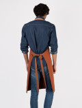 Orange bartender's apron with leather back