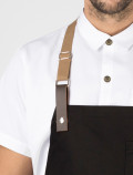 Chef black apron leather detail