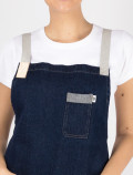 Cross back denim apron detail