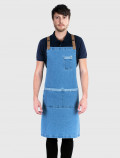Distressed denim apron with cross back straps