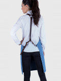 Distressed denim apron with harness