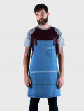 Blue distressed denim apron