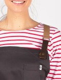 Grey waiter's apron with leather detail