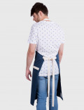 Blue and white chef apron back