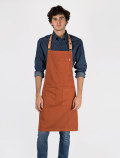 Orange bartender's apron with leather