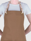 Brown bib apron back with leather strap