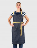 Denim blue Bib apron with yellow ribbons