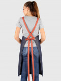 Blue denim bib apron with cherry ribbons back