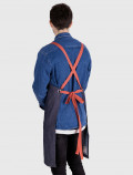 Denim blue apron with red ribbons back