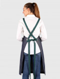 Overall apron cross-back green ties, back