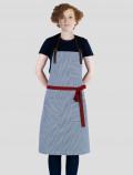 Delantal rayas azul con cinta roja
