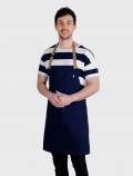 blue apron with brown stripes