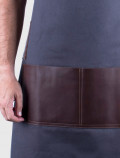 Bartender apron with leather pocket