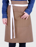 Brown french apron back with raw ribbons